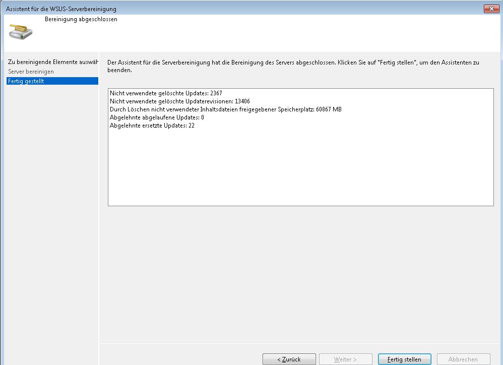 WSUS - Serverbereinigung - Ergebnis