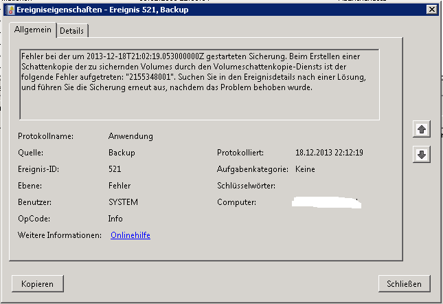 Windows Server-Sicherung - Event-ID 521 - 2155348001