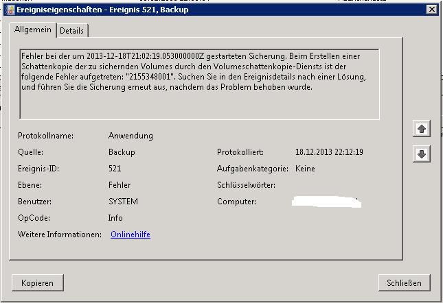 Windows Server-Sicherung - Event-ID 521 - 2155348001