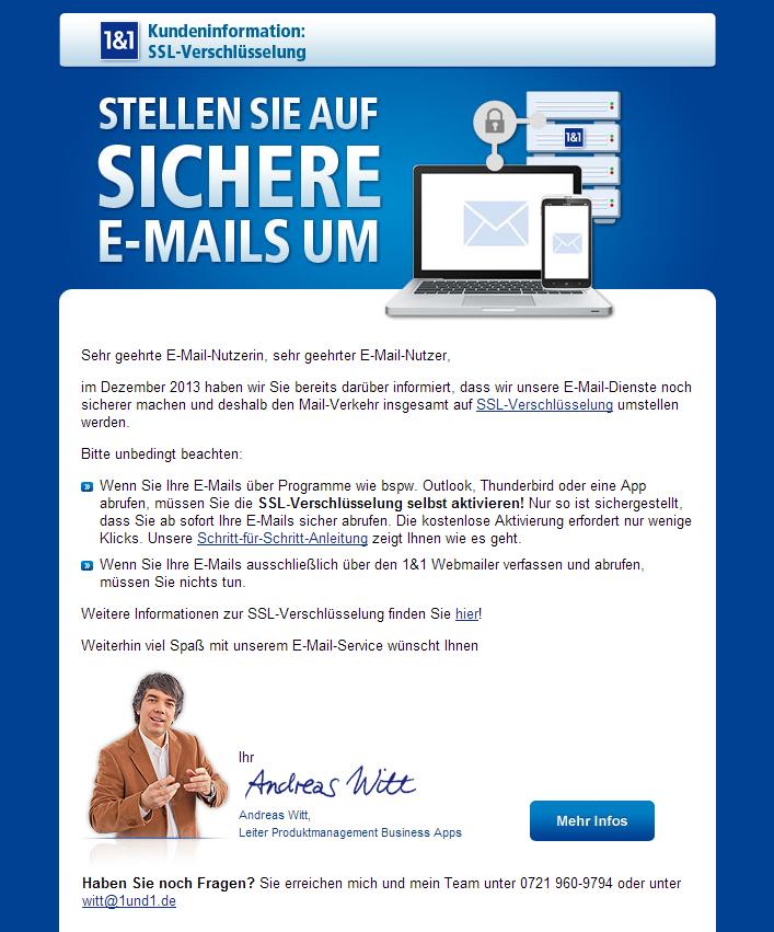 1&1 - Verschlüsselte E-Mail-Kommunikation