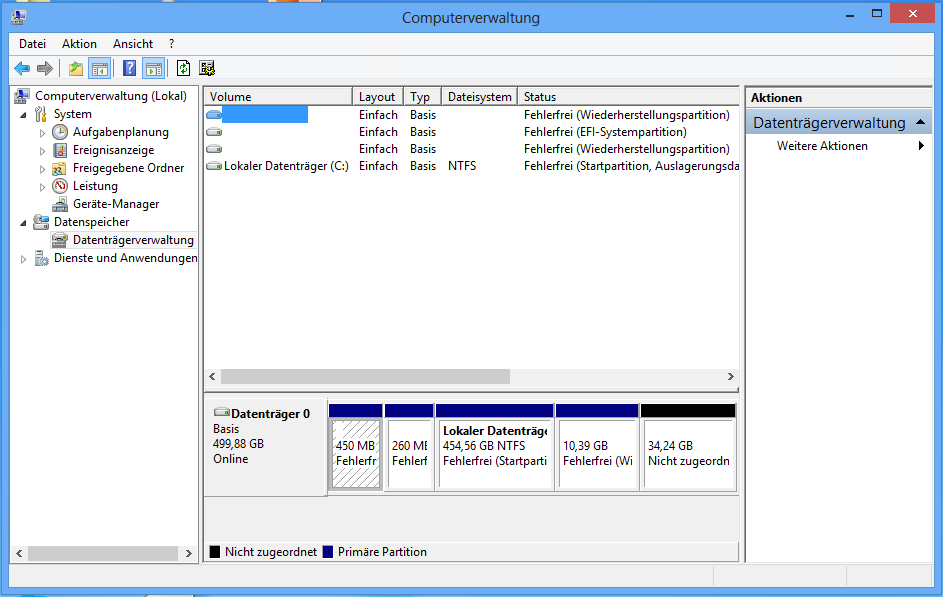 Datenträgerverwaltung - GPT und UEFI