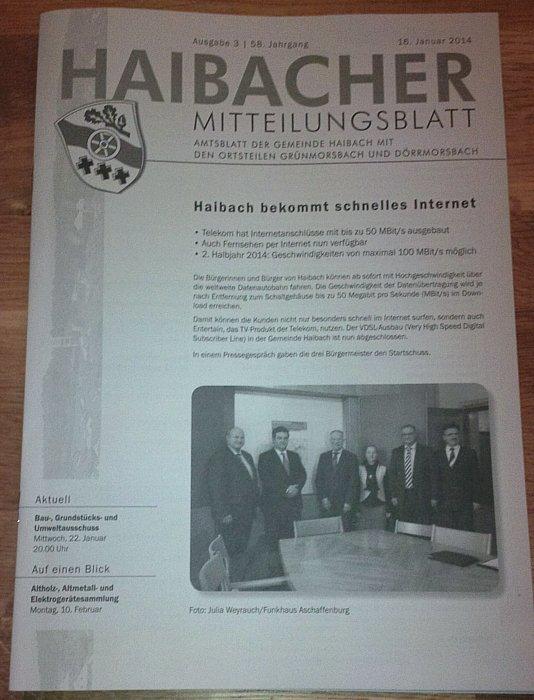 Haibacher Mitteilungsblatt - VDSL verfügbar