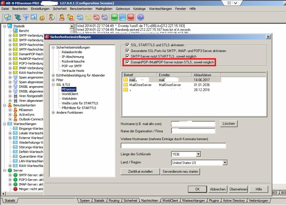 MDaemon - SSL/TLS für Doamin- und MultiPop aktivieren