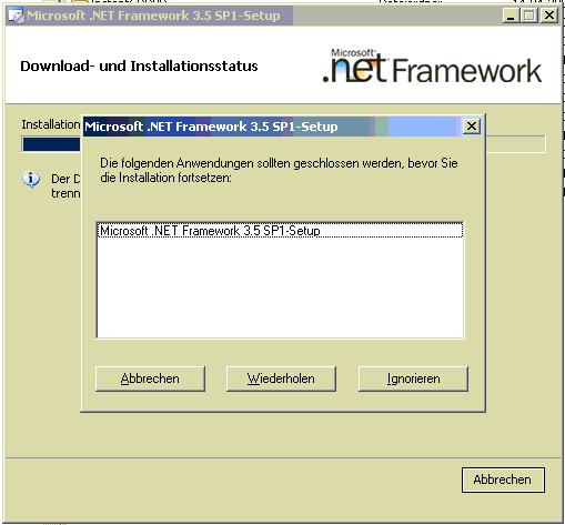 .NET Framework 3.5 SP1 Installation - Meldung