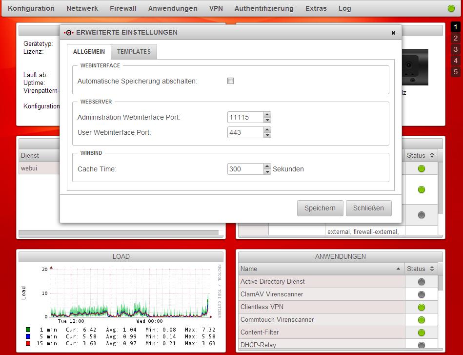 Securepoint UTM - Webserver Ports ändern