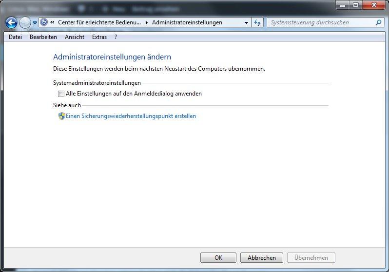 Windows - Erleichterte Bedienung - Anmeldeeinstellungen unter Windows 7.png