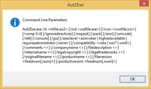 AutoIt 3.3.10.2 - Aut2Exe CLI