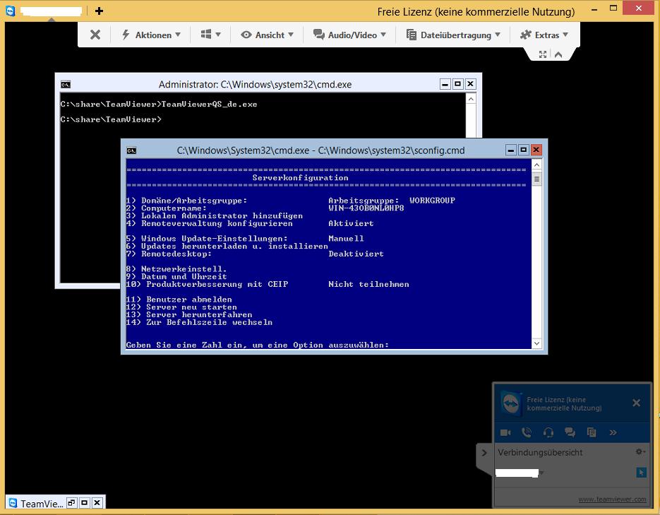 TeamViewer 9 QuickSupport und Hyper-V Server 2012 R2 - 2