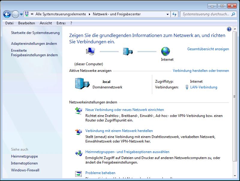 Windows: Netzwerk- und Freigabecenter