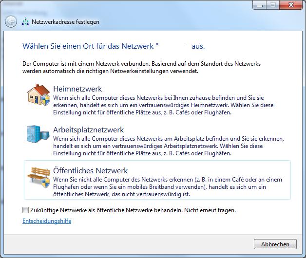 Windows - Netzwerkkategorie auswählen