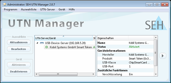 SEH UTN Manager mit Dongle