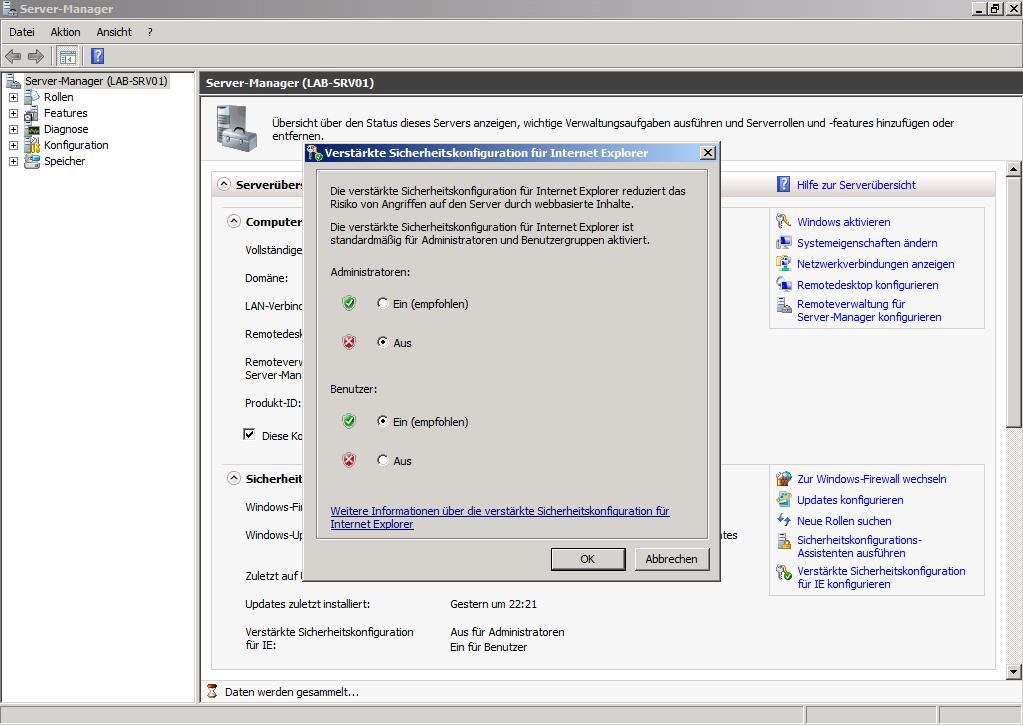 Windows Server 2008 R2 - Verstärkte Sicherheitskonfiguration für IE konfigurieren