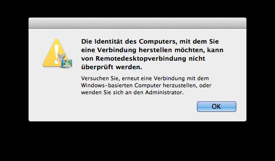 MS RDP-Client Verbindungsfehler von OS X  zu Windows Server 2012 R2