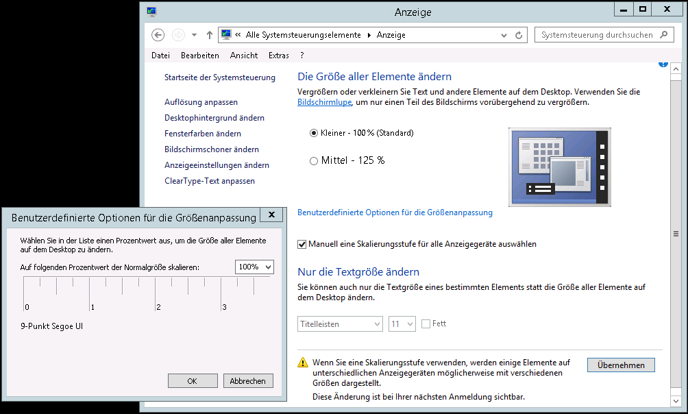 Windows Server 2012 R2 - Anpassen der Lesbarkeit - RDP