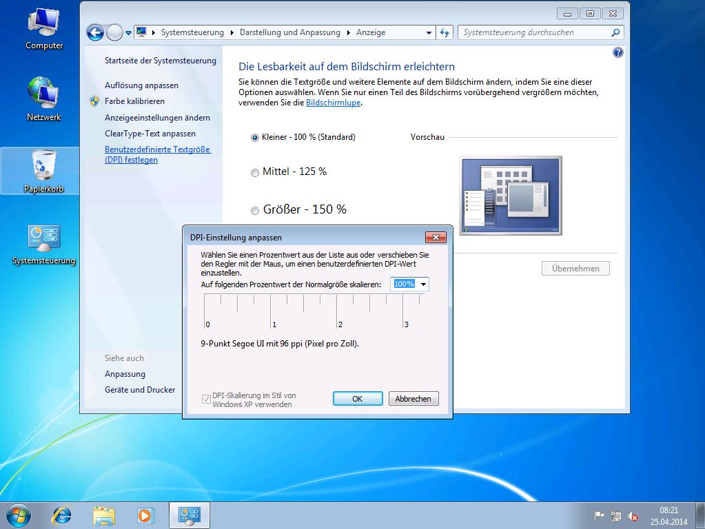 Windows 7 - Anpassen der Lesbarkeit - Lokal