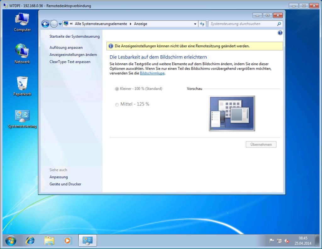 Windows 7 - Anpassen der Lesbarkeit - RDP