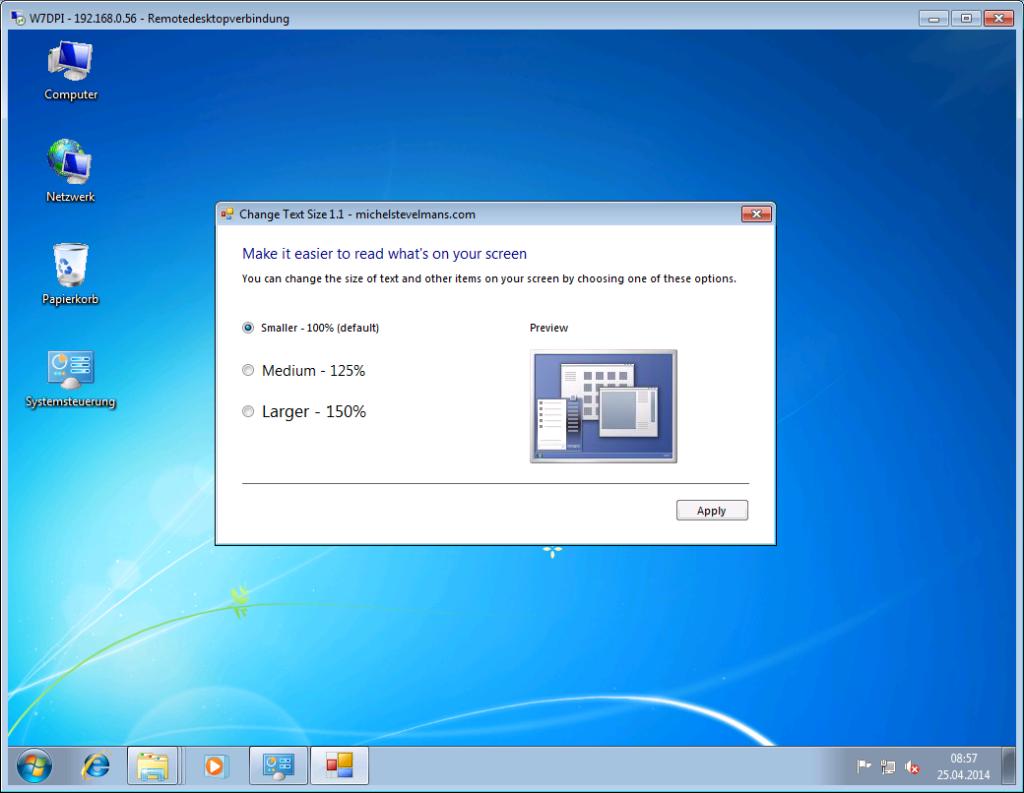 Windows 7 - Anpassen der Lesbarkeit - RDP mit Tool