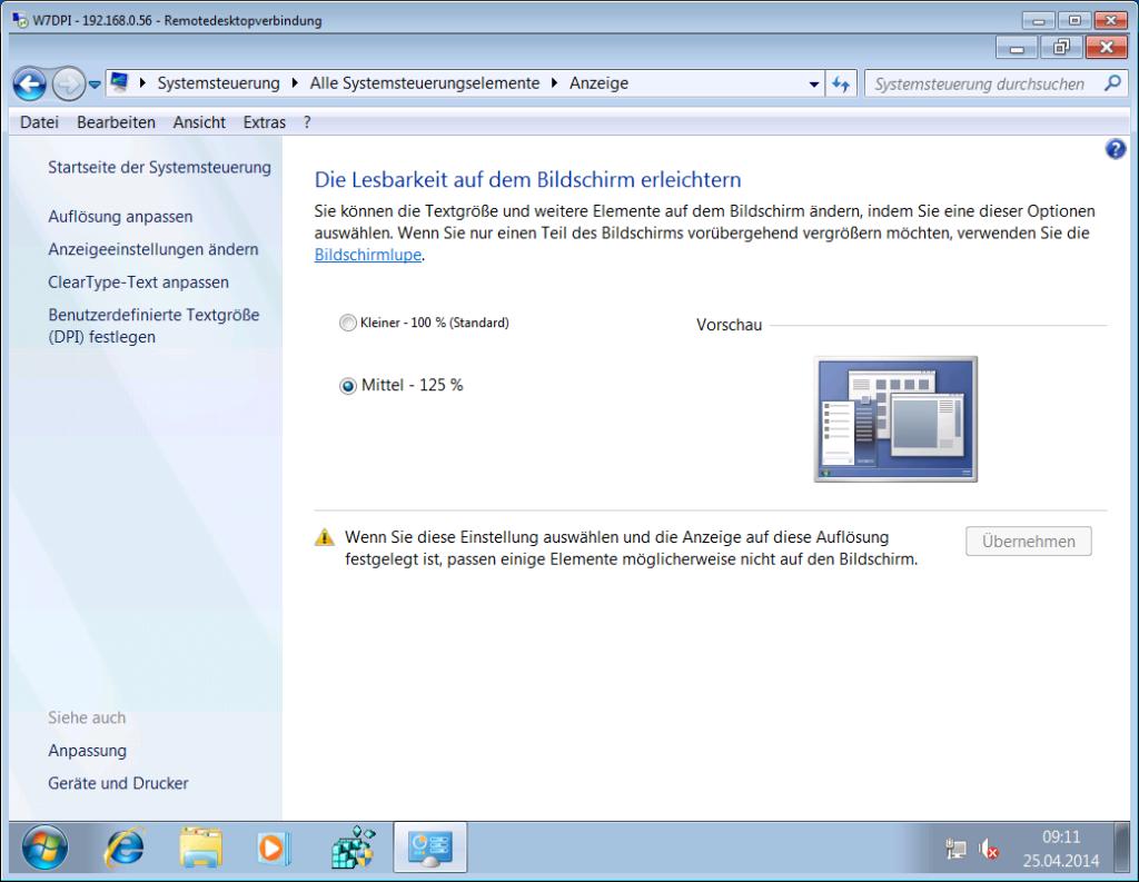 Windows 7 - Anpassen der Lesbarkeit - RDP mit Hotfix