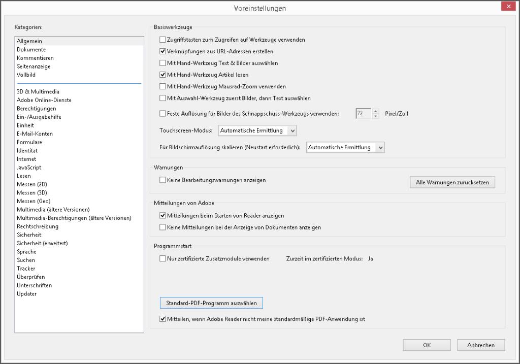 Adobe Reader XI - Voreinstellungen