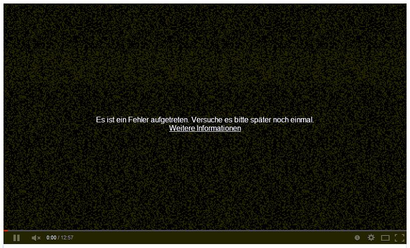 YouTube - Es ist ein Fehler aufgetreten