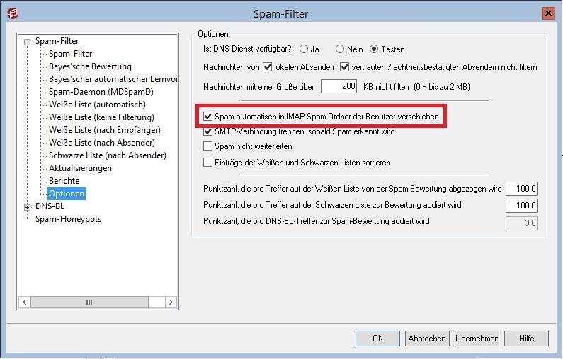 MDaemon - Spam-Filter - Optionen - Spam automatisch verschieben