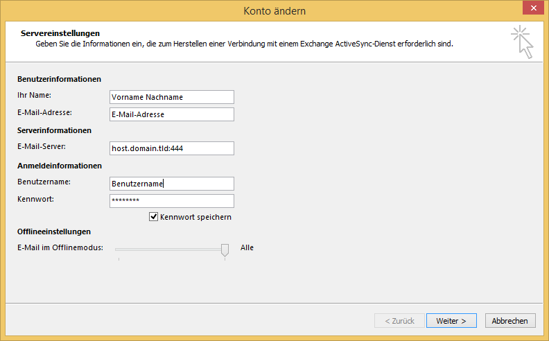 Outlook 2013 - ActiveSync - Alternativer Port
