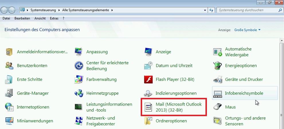 Systemsteuerung - Outlook 2013 - Verwaistes Symbol