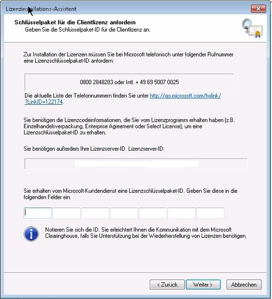 WTS/RDS - Lizenzinstallations-Assi