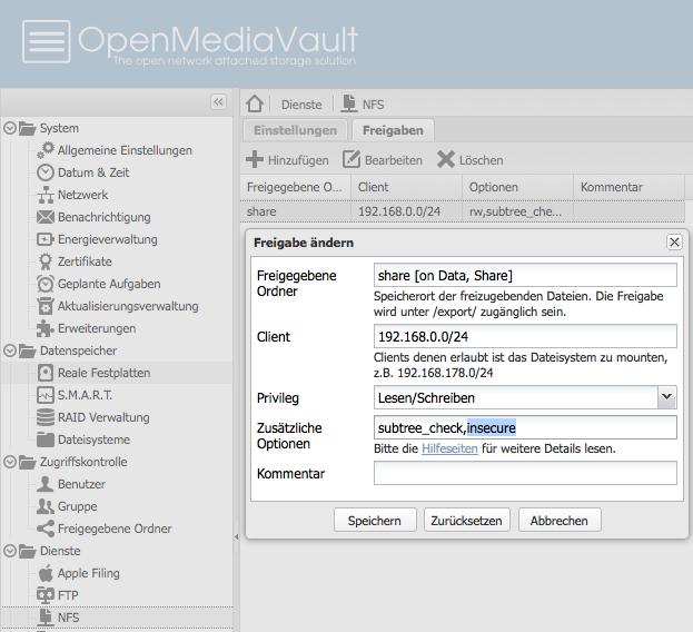 OpenMediaVault - NFS - Freigabe - Einstellungen