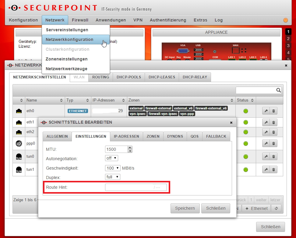 Securepoint UTM - Fallback - Route Hint
