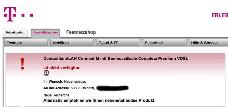 Telekom - Erster Bestellversuch