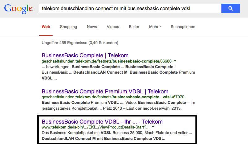 Google-Treffer zu Telekom BusinessBasic Premium VDSL 25 Mbit/s