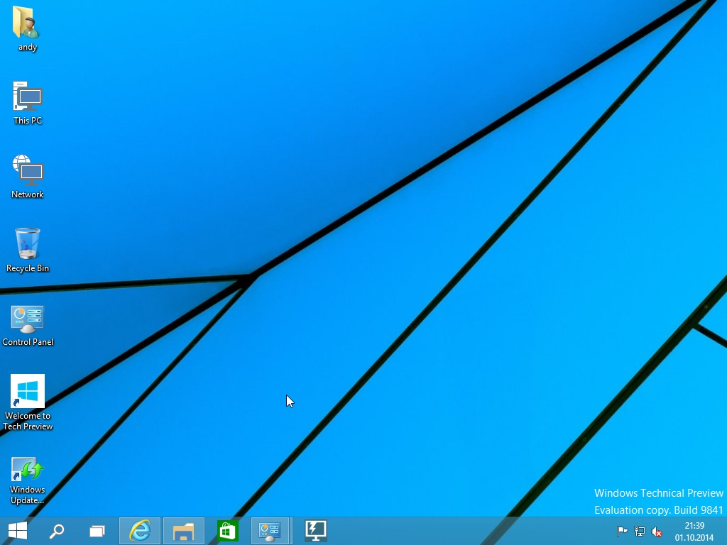 Windows 10 Technical Preview - Desktop