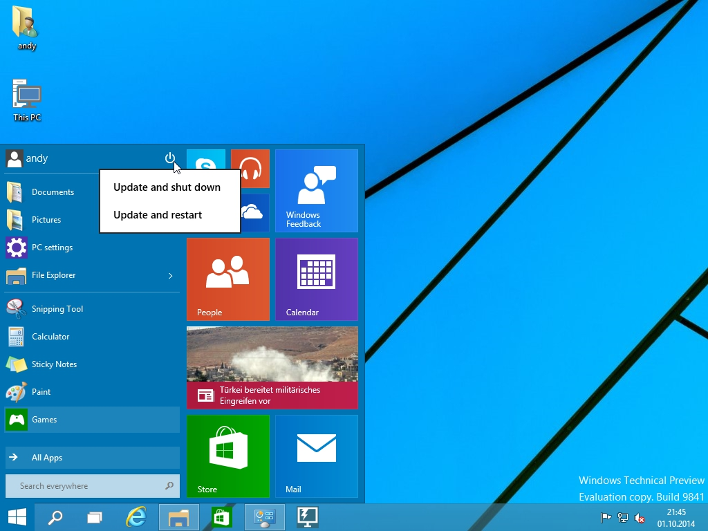 Windows 10 Technical Preview - Power options