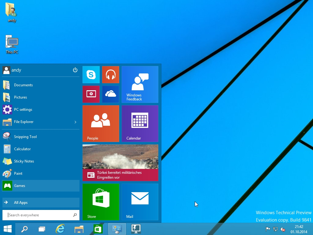 Windows 10 Technical Preview - Startmenü