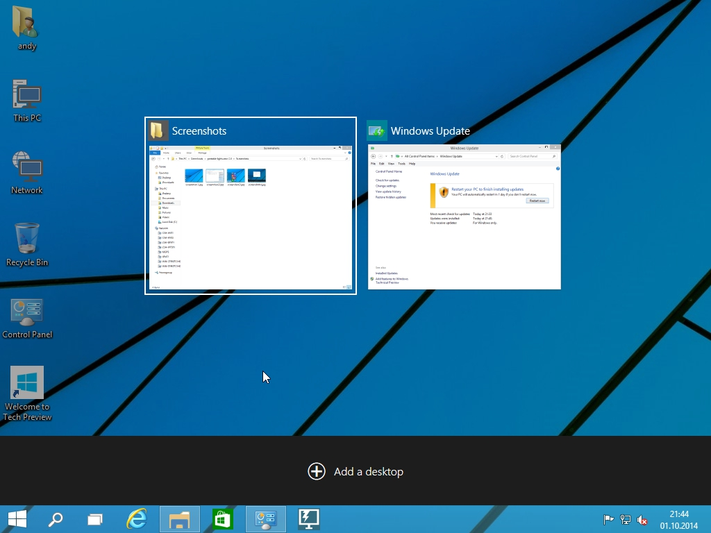 Windows 10 Technical Preview - Task view