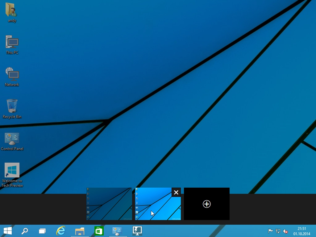 Windows 10 Technical Preview - Virtuelle Desktops