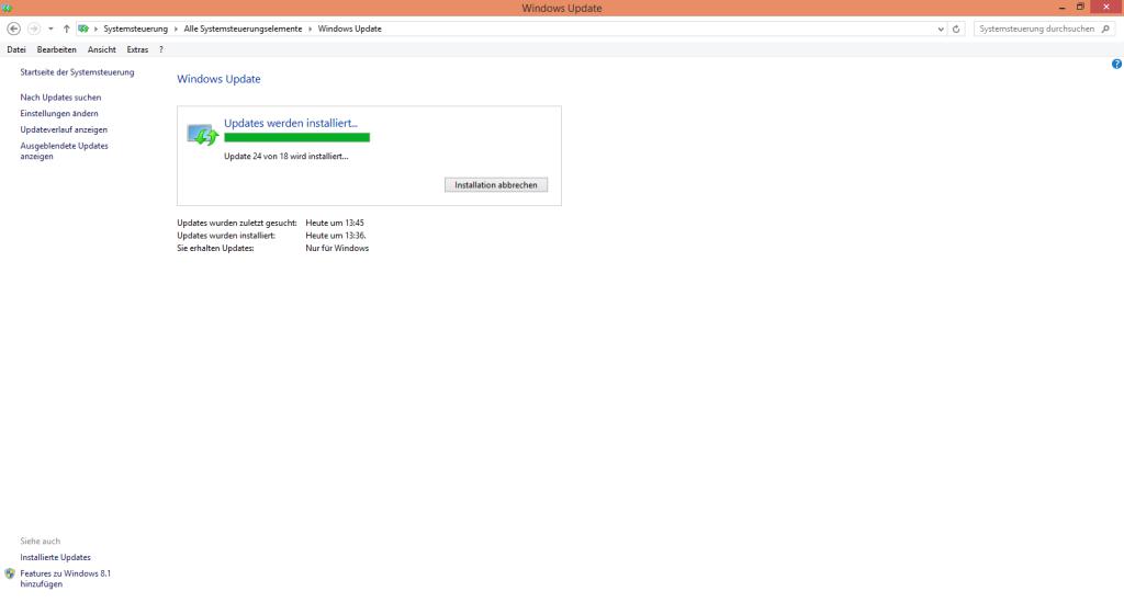 Windows Updates - 28 von 14 wird installiert
