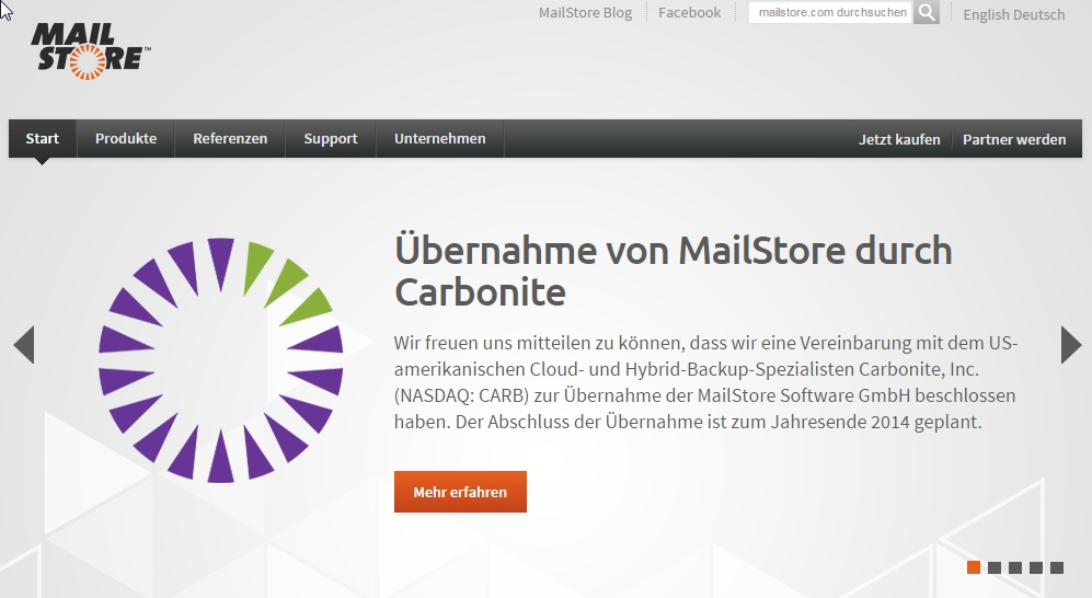 Screenshot von MailStore.com - Carbonite