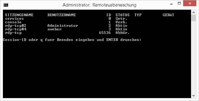 Windows: Remoteüberwachung mit rdp-shadow.cmd