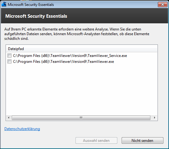 Microsoft Security Essentials  und TeamViewer 9 Host