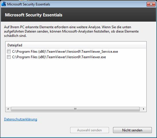 Microsoft Security Essentials  und TeamViewer 9 Host