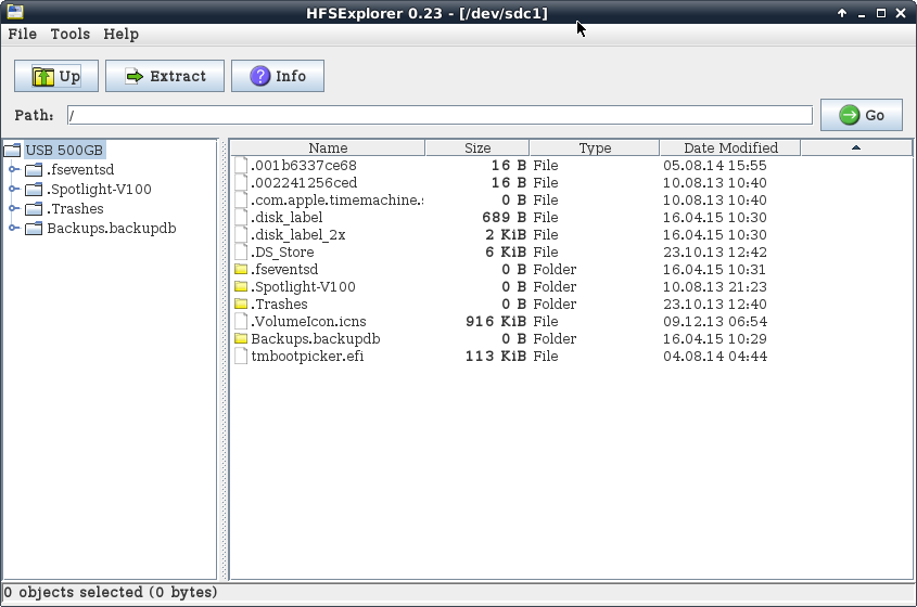 HFSExplorer unter Debian Wheezy