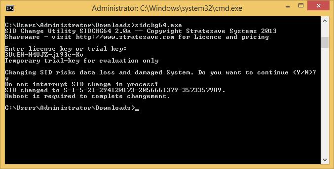 SIDCHG64 2.0a unter Windows 8.1 Pro x64