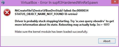 VirtualBox - VBoxDrv-Fehlermeldung