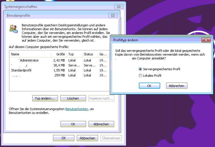 Windows 7 - Benutzerprofiltyp ändern