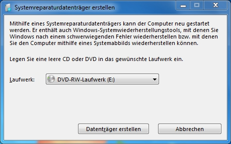 Windows 7 - Systemreparaturdatentraeger erstellen (recdisc.exe)