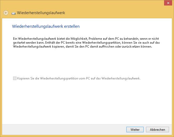 Windows 8.1 - Wiederherstellungslaufwerk erstellen