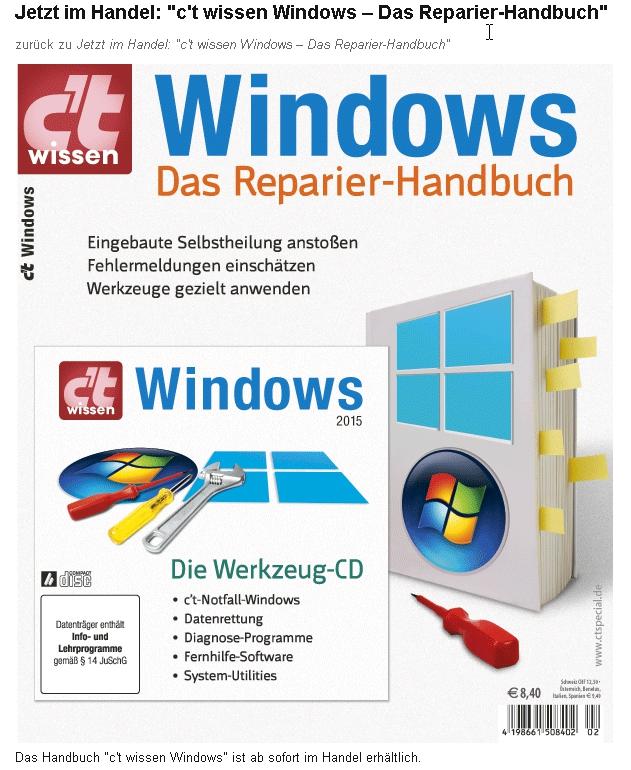 c't Sonderheft - Windows-Das Reparierhandbuch