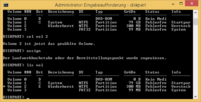 Windows 8.1 - diskpart - Wiederherstellungspartition